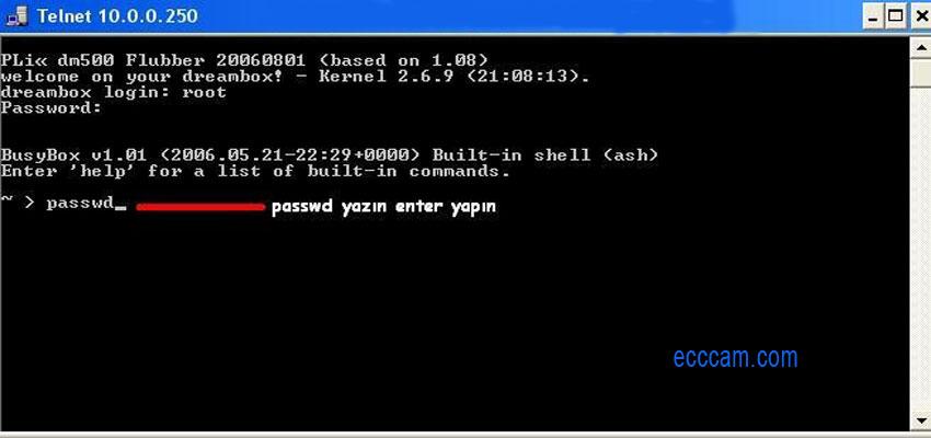 Dreambox şifre değiştirme telnet